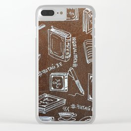 Drawings by hand on the theme of books. Clear iPhone Case