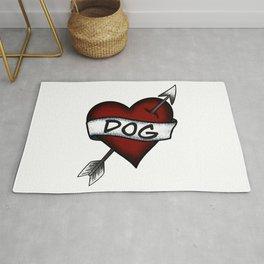 I Love Dog Vintage Heart Tattoo Rug