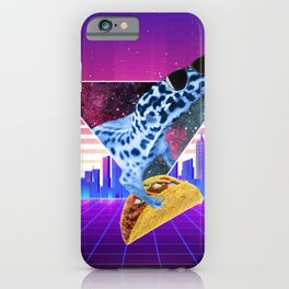 Aesthetic Synthwave Leopard Gecko Taco iPhone Case