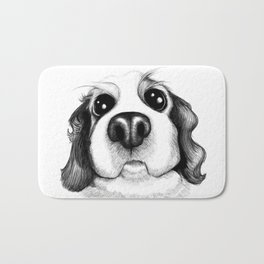 Sketch of a Spaniel who wants his belly rubbed! Bath Mat