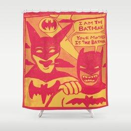 Beware the Yellow and Red Batmen Shower Curtain