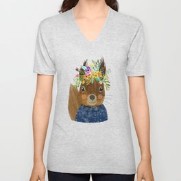 Squirrel with floral crown Unisex V-Neck