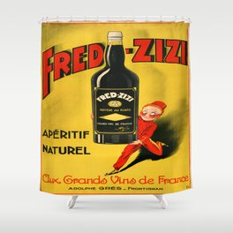 Vintage poster - Fred-Zizi Aperitif Shower Curtain