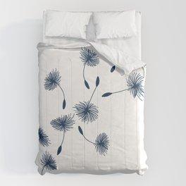 Wispy Blue Dandelion Seeds Blowing in the Breeze Comforters