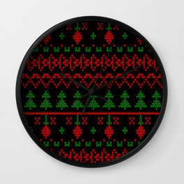 3 Knitted Christmas pattern in retro style pattern Wall Clock