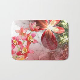 Colorful Orchids & Floral Abstract Bath Mat