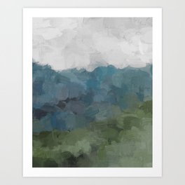 Gray Blue Navy Indigo Sage Leafy Green Sky Forest Abstract Painting, Modern Wall Art, Portrait Art Print