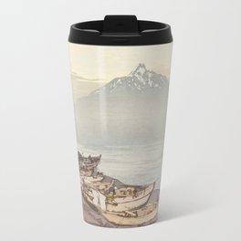 Hiroshi Yoshida - Calm Waters in the North Sea : Mount Rishiri, 1938 Travel Mug