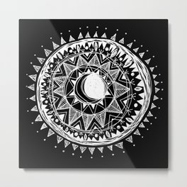 Black Moon Mandala Metal Print