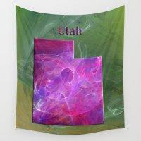 utah Wall Tapestries featuring Utah Map by Roger Wedegis