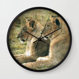 Lion Cub Twins Wall Clock