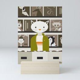 Record Store Cat Mini Art Print