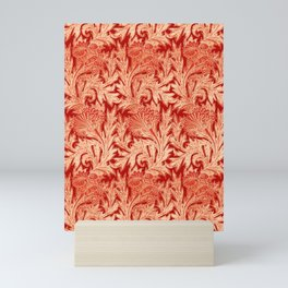 Jacobean Flower Damask, Mandarin and Light Orange Mini Art Print