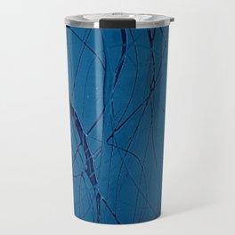 Navy Blue - Jackson Pollock Style - Modern Art Travel Mug