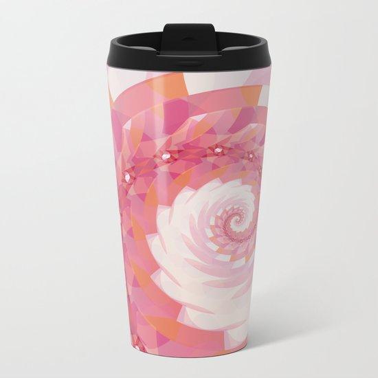 Strawberry Pink & Tangerine Orange Spiral Metal Travel Mug