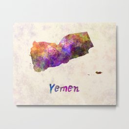 Yemen in watercolor Metal Print