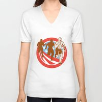 crossfit V-neck T-shirts featuring American Crossfit Runners USA Flag Circle Retro  by patrimonio