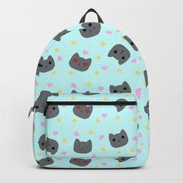 Gray Pixel Cat Emotes Backpack