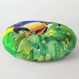 Toco Toucan with Brazil Flag Floor Pillow