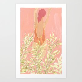Girl and the leafs Art Print