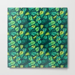 Leaf pattern with red frogs Metal Print