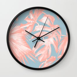 Island Love Coral Pink on Pale Blue Wall Clock