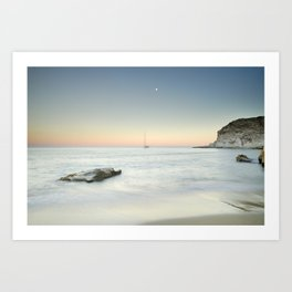 SuperMoon At Plomo Beach. Summer dreams Art Print
