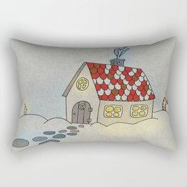 Winter Evening in Tiny Gingerbread House Rectangular Pillow
