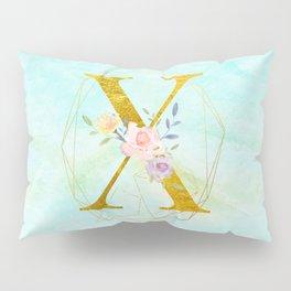 Gold Foil Alphabet Letter X Initials Monogram Frame with a Gold Geometric Wreath Pillow Sham