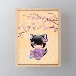 Japanese Neko Kokeshi Doll V2 Framed Mini Art Print