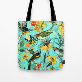 Vintage & Shabby Chic - Teal Tropical Bird Garden Tote Bag