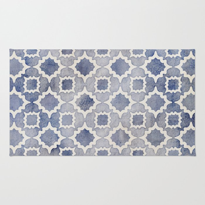 Worn & Faded Navy Denim Moroccan Pattern in grey blue & white Rug