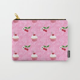 Cherry Blossom & Cherries with cupcakes and vintage lace Carry-All Pouch