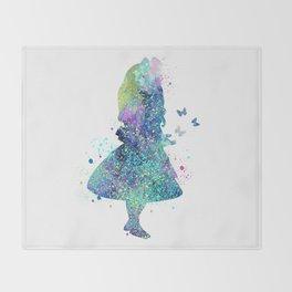 Watercolor Slatter Alice In Wonderland Throw Blanket