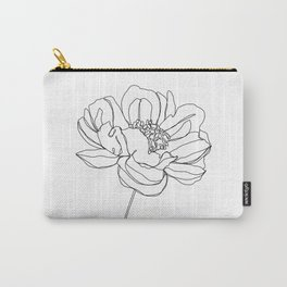 Single flower line drawing - Hazel Carry-All Pouch