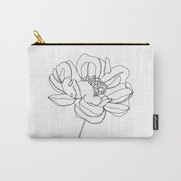 Single flower line drawing - Hazel Carry-All Pouch