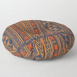 Boho Mudcloth (Blue, Gold, Persimmon) Floor Pillow