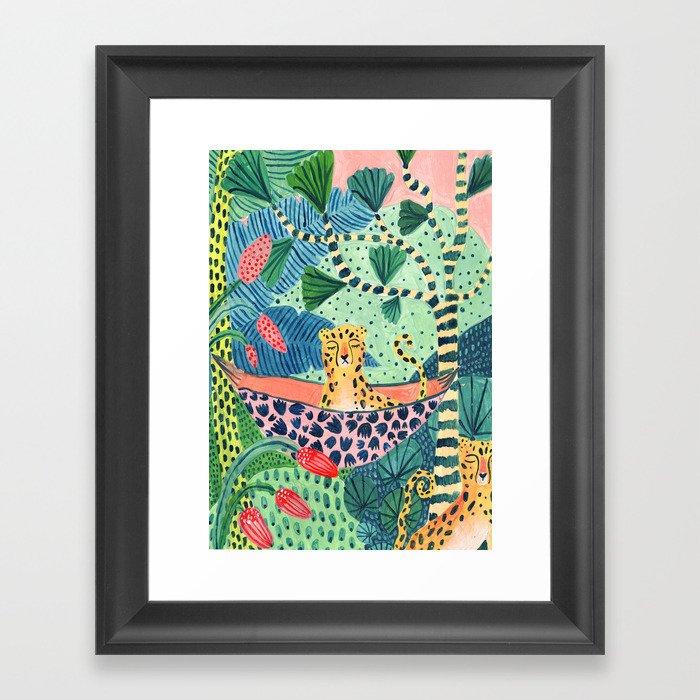 Jungle Leopard Family Gerahmter Kunstdruck