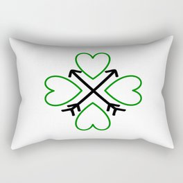 St. Patrick's Day Shamrock Lucky Charm Green Clover Veart with Arrows Rectangular Pillow