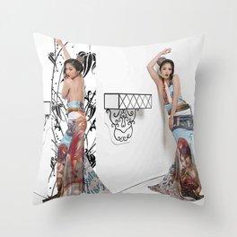 Chinese Silk Art Print Throw Pillow