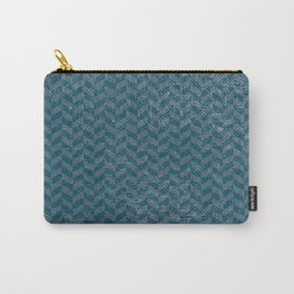 Vintage blue gray abstract geometric chevron pattern Carry-All Pouch
