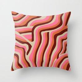 neon pink retro zebra Throw Pillow