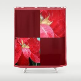 Mottled Red Poinsettia 2 Blank Q10F0 Shower Curtain