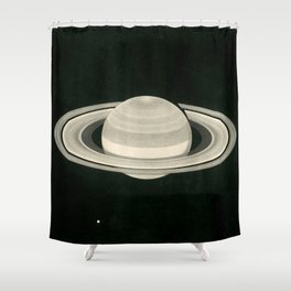 Print of a drawing by Warren De la Rue of Saturn and its moons Tethys and Enceladus - 1852 Shower Curtain