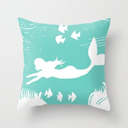 Mint and White Mermaid Silhouette Art Throw Pillow