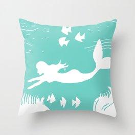 Mint and White Mermaid Silhouette Art Throw Pillow