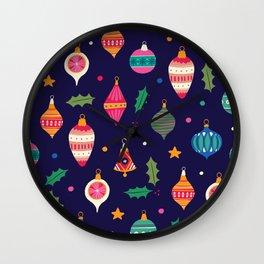 Christmas ornaments pattern Wall Clock