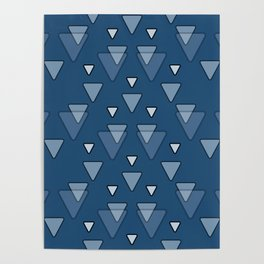 Triangles Geometric Pattern in Blue Poster