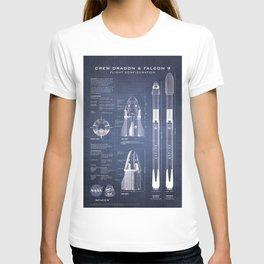 NASA SpaceX Crew Dragon Spacecraft & Falcon 9 Rocket Blueprint in High Resolution (dark blue) T-shirt