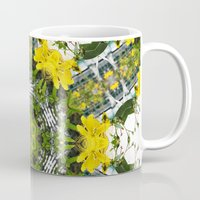 marc johns Mugs featuring Kaleidoscope of showy St Johns Wort  by Wendy Townrow